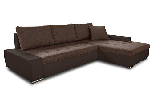 Ecksofa mit Schlaffunktion Faris - Couch mit Bettkasten, Big Sofa, Sofagarnitur, Couchgarniitur, Polsterecke, Bett (Braun + Braun (Madryt 128 + Inari 24), Ecksofa Rechts)
