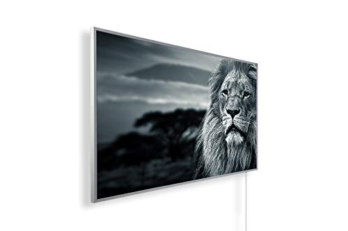 Könighaus Fern Infrarotheizung – Bildheizung in HD Qualität mit TÜV/GS - 200+ Bilder -800Watt - Patentiert -Weißer_Rahmen(068. Löwe Afrika) Black Edition