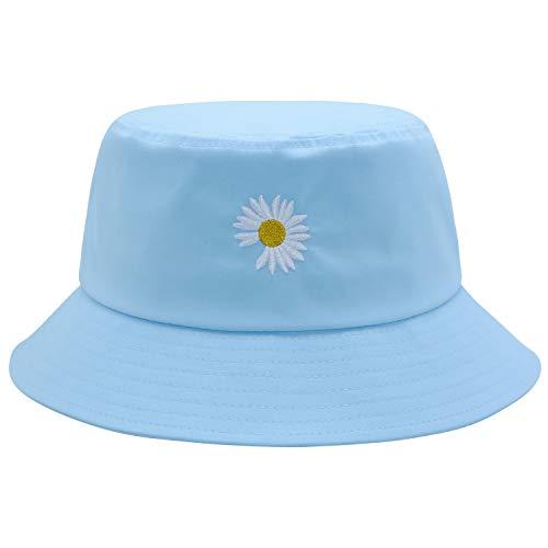 Flower Bucket Hat Summer Travel 100% Cotton Packable Beach Sun Hat Embroidery Visor Outdoor Cap (Blue)