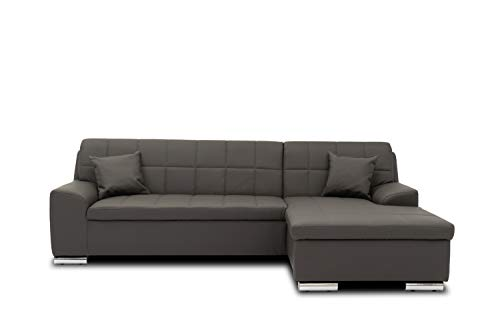 DOMO. collection Juno Ecksofa | Eckcouch in L-Form | Sofa Polsterecke, Moderne Eckgarnitur, dunkelgrau, 241x150x80 cm