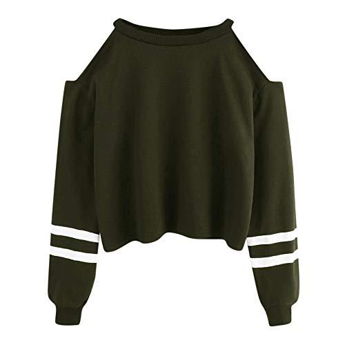 Strung Damen Aus Der Schulter Sweatshirt Langarm Bluse Shirt Streifen Pullover Casual Tops Crop Jumper O-Ausschnitt Pullover Pullover Kapuze Outwear Frauen Mädchen Bluse Tops Hemd Shirt
