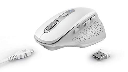 Trust OZAA Ratón Inalámbrico Recargable, 6 Botones, Ergonomico, Receptor USB Plug and Play, Interruptor de Encendido/Apagado, Wireless Mouse para Ordenador Portatil, PC, Macbook, Chromebook - Blanco