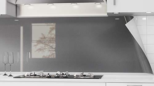 danario Küchenrückwand selbstklebend - Spritzschutz in Glasoptik - PET Verbund Folie, 1,3 mm - Graphit metallic (Unifarbe) - Materialmuster A4