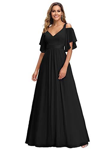 Ever-Pretty Robe de Soirée Longue Col V Cérémonie Demoiselle d'honneur Mousseline de Soie Femme Noir 38