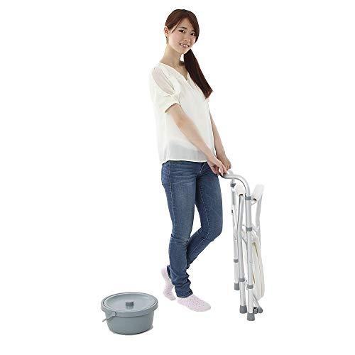 楽々健ポータブルトイレ簡易便座折り畳み式高さ調整可