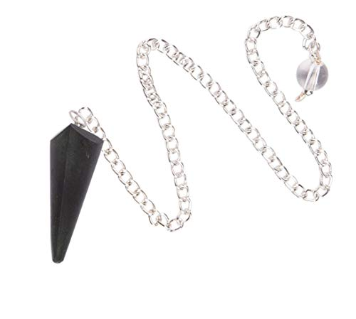 Péndulo de radiestesia de cono de turmalina negra con piedras preciosas espirituales de energía curativa Reiki con cadena larga - Bendita curación complet
