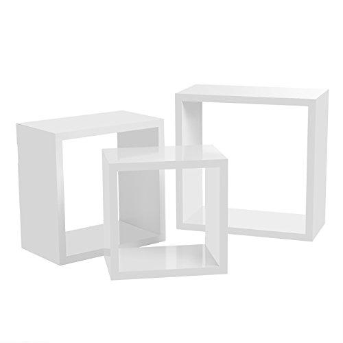 SONGMICS Mensola a Muro Set di 3 Mensole a Cubo Mensole a Muro Stile, 30 26 22 cm, MDF Bianco LWS30WT