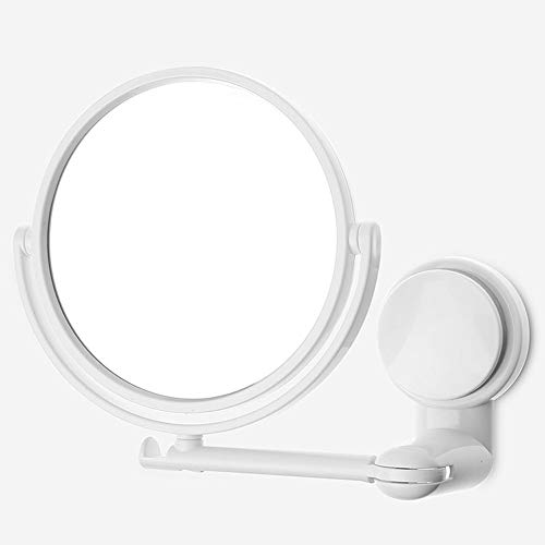 Aumento Espejo Cosmético Luminoso con Ventosa Fuerte,de Doble Cara Giratorio Espejos Extensibles para Baño y Tocador,Espejo de Mesa y para Pared,360° de Rotación,Blanco