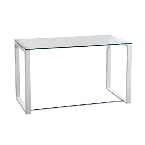 Adec - Mesa de Estudio Benetto XL, Mesa de Escritorio, Mesa de Despacho Cristal Transparente y Patas Blancas, Medidas: 120 cm (Largo) x 60 cm (Ancho) x 75 cm (Alto)