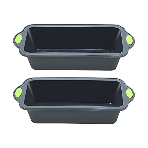 To encounter 9 Inch Silicone Bread and Loaf Pan, Food Grade Non Stick Silicone Molds for Baking Banana Bread, Meat Loaf, Pound Cake with Metal Reinforced Frame More Strength, Set of 2