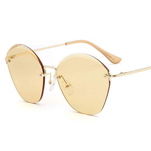 Anas Gafas de Sol de Gran tamaño for Las Mujeres sin rebordes de Corte Retro de los vidrios de Sun de Diamante de la Lente de la protección UV400 (Color : Yellow)