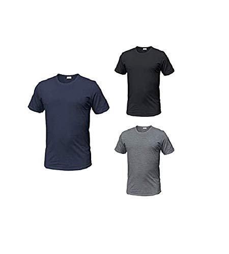 Enrico Coveri Maglietta Girocollo Intima Uomo 100% Cotone Tshirt Uomo Manica Corta Confezione da 3 Pezzi Maglia Intima Uomo Ultraleggera Invisibile (6/XL, Assortito Nero Grigio Blu)