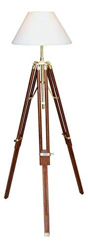 Stehlampe Stativ Lampe,Schirmlampe,Lampenschirm,max. Höhe 146cm Holz/Messing,Dreibein