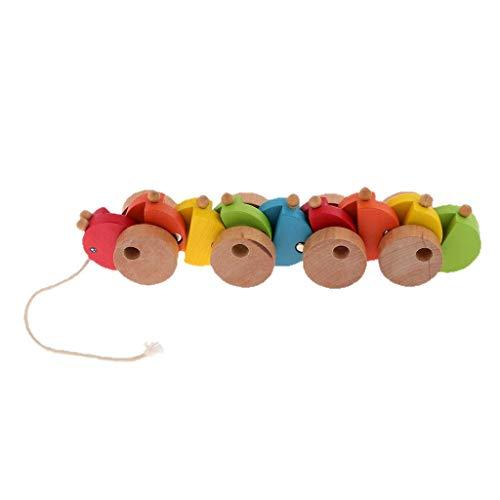 Tubayia Niedliche Holz Raupe Nachziehspielzeug Holzspielzeug Baby Kleinkind Ziehspielzeug