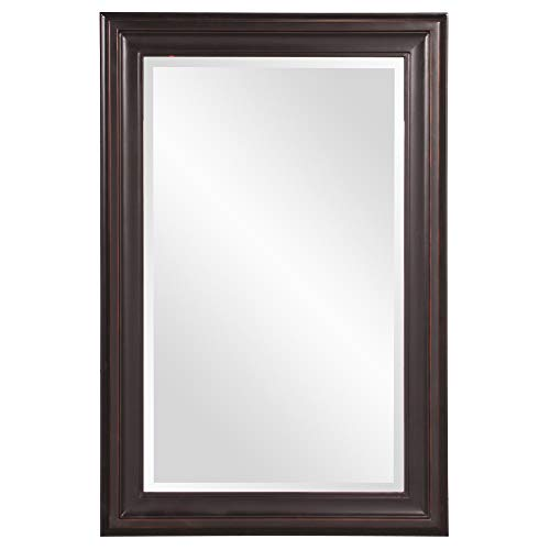 Howard Elliott George Rectangular Wood Framed Wall Vanity Mirror, 53047, Rectangular, Oil Rubbed Bronze