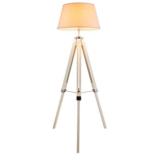 Elegante lámpara de pie tipo trípode con pantalla de textil, de altura regulable. Madera blanca