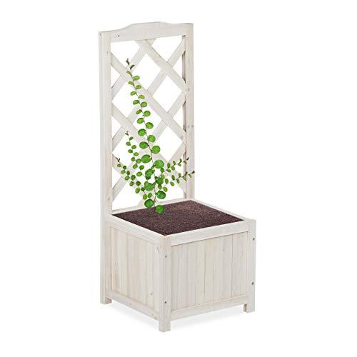 Relaxdays Pérgola de jardín, Enrejado de Madera, Decoración de Exterior, Macetero, 20 L, 90 cm, Blanco