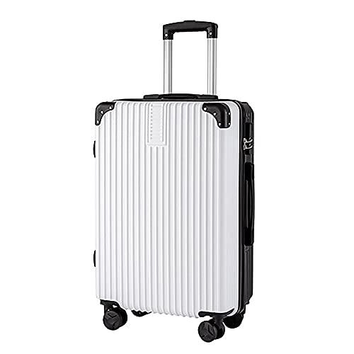 Carretilla de la maleta Carrera en la cabina de la mano bolsa de viaje de equipaje Maleta de contraseña de estudiante ligero, 4 ruedas de spinner Trolley Case -Zipper Style,Blanco,36*21*58