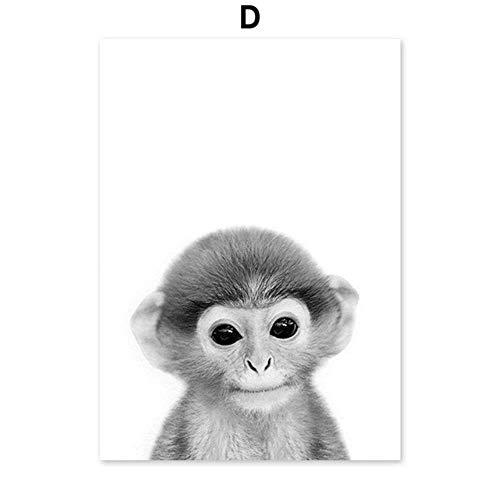 Zwart Wit Panda Koala Aap Struisvogel Nordic Posters En Prints Wall Art Canvas Schilderij Animal Wall Pictures Kinderkamer Decor, D, 13X18 cm No Framed