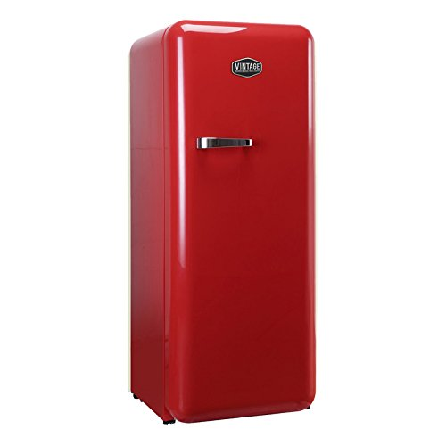 Vintage Industries ~ Retro-Kühlschrank Havanna in rot | 50er Jahre Look | Größe 152,5 cm | Kühl-Gefrier-Kombination 302l | Getränke-Kühlschrank mit Gefrierfach/Gefrierschrank 21l