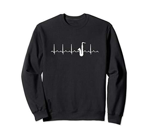 Saxophon Herzschlag Heartbeat EKG Sweatshirt