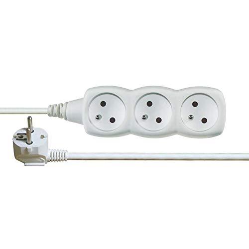 Cable Alargadera Ladron Regleta Alargador 5M 3x Tomas PVC Blanco