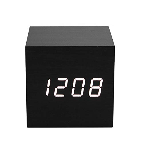 ThreeH Reloj Despertador Digital con luz LED de Madera Mini Cubo Despertador de Escritorio Muestra Hora,Fecha,Temperatura para niños,dormitorios,hogar,Dormitorio,Viaje AC10 Amarillo_Blanco