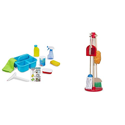 Melissa & Doug Spray, Squirt & Squeegee Play Set (Pretend Play Cleaning Set, Promotes Motor Skills, 8'' H x 8'' W x 8'' L) & Dust! Sweep! Mop! (Frustration Free Packaging),Multicolor