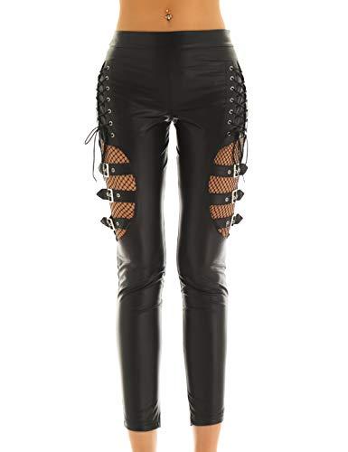 iEFiEL Damen Wetlook Leggings Kunstleder Stretch Netz Verstellbar Pants Motorrad Lang Hose mit Schnürung Gogo Party Clubwear Schwarz X-Large