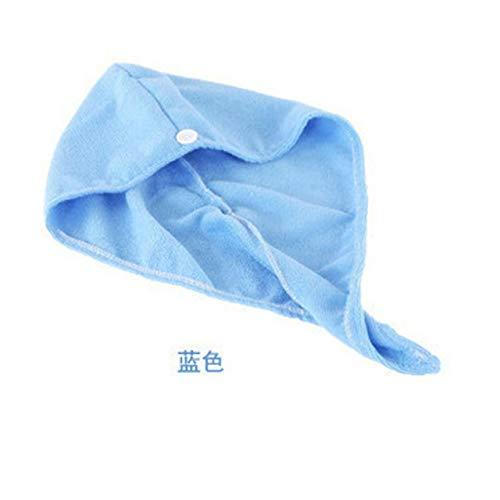 IAMZHL Microfibra Secado de Cabello Toalla Envoltura Cabeza de Turbante Sombrero Sombrero Gorro Ducha Ducha Seco Microfibra Cabello Cap para Viajes-Blue