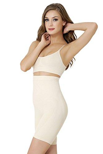 Formeasy Damen Shapewear Miederhose bauch weg stark formend Miederpants mit Bein Taillenformer Shaper angenehme figurformende Wäsche, Beige, Large