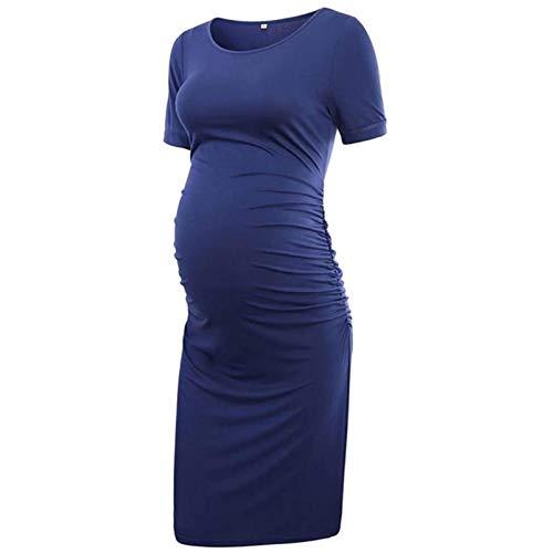 Vuncio Vestido de maternidad para mujer, verano, tallas grandes, manga corta, maxivestido, para embarazadas, tiempo libre, informal, elegante vestido de playa azul XL