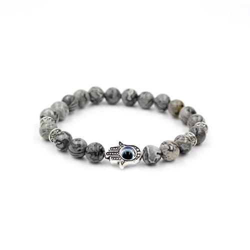 JONJUMP Pulsera de plata de color de la mano del encanto de Mala Marble Stone Bead Pulsera del mal de ojo para hombres y mujeres regalo 20-21cm