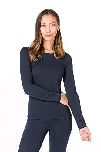 Super.natural Tee-shirt Manches Longues pour Femmes, Laine mérinos, W BASE LS 175, Taille: L, Couleur: Bleu foncé