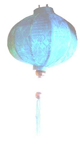 Terrapin Trading Ltd VIETNAMESISCHE Oriental Silk & Bamboo HANDGEFERTIGTE Laterne Lampe chinesisch blau 20