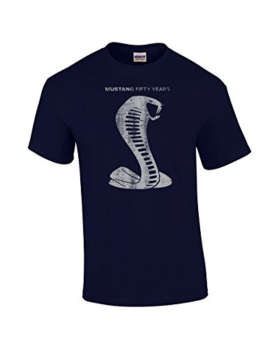 Ford Short Sleeve T-Shirt Mustang 50 Years Cobra-Navy-XL
