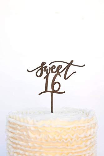 Sweet 16 Taart Topper, Verjaardag Taart Topper, Hout Taart Topper, Zoete 16 Verjaardag