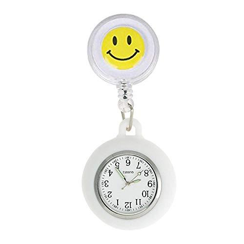 NEWELLYY Schwesternuhr Pulsuhr,Smiley einziehbare Krankenschwester Uhr, Student Exam Pocket Watch-7,Ansteckuhr Krankenschwesteruhr Quarz