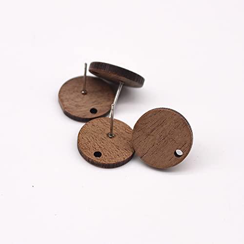 xuyang 10 pendientes de madera natural de moda con conector de pendientes cuadrados ovalados, redondos, para hacer accesorios para aretes de madera (color: yuanes redondos)