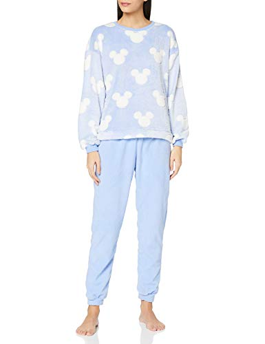 Women' Secret Pijama Largo Mickey Juego, Estampado Azul, M para Mujer