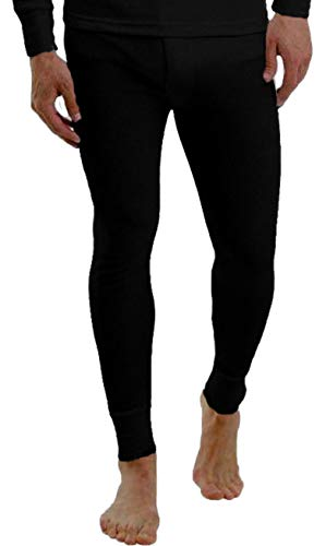 EUROTSHIRTS Classic Mens Base Layer Warm Thermal Long John Underwear Ski Wear (L, Jet Black)