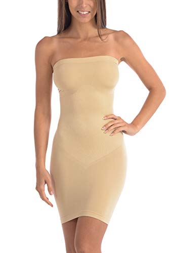 Body Beautiful Strapless Full Body Slip Shaper (2X/3X, Nude)