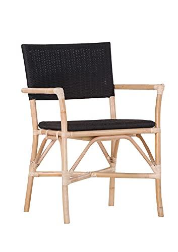 Stylefurniture Armlehnstuhl, Rattan, schwarz, Breite 60