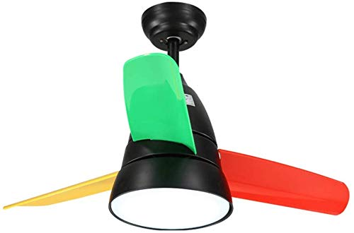 Kinderkamer, stil, licht fan cartoon, plafondventilator, plafondventilator met LED-lampen, slaapkamer, plafondventilator, licht (kleur: zwart, maat: 90 x 49 cm), 8 B 90 * 49CM Zwart