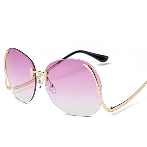 ShZyywrl Gafas De Sol De Moda Unisex Gafas De Sol Sin Montura De Gran Tamaño para Mujer, Gafas De Sol Cuadradas Vintage para Mujer, Monturas Grandes De Piloto