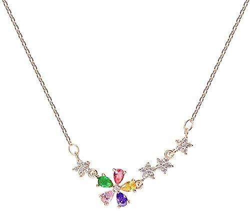 Popolare moderna collana piccola collana di fiori freschi tendenza ciondolo a catena clavicola cubic zirconia