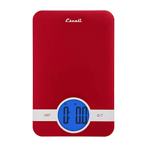 Escali Ciro C115R Blue Backlit Digital Display Table Top Scale, Tare Functionality, Liquid and Dry Measurements, Office, Kitchen, 11lb Capacity, Red
