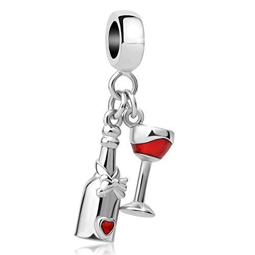 Lifequeen Jewellery - Ciondolo a Forma di Tazza di Vino Rosso con Scritta Be Mine Heart, per Braccialetti e Base Metal, cod. LQJ_MY942