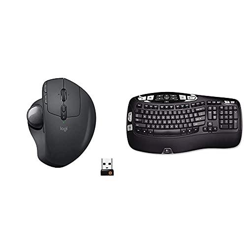 Logitech MX Ergo Wireless Trackball Mouse – Adjustable Ergonomic Design (Bluetooth or USB), Graphite & K350 2.4Ghz Wireless Keyboard (Renewed)