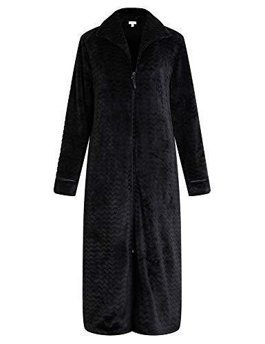 Richie House Women's Soft and Warm Fleece Robe with Zipper RHW2856-B-L Black